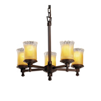 Justice Design Veneto Luce Deco 5-Light Chandelier in Dark Bronze GLA-8530-16-GLDC-DBRZ