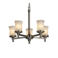 Justice Design Veneto Luce Deco 5-Light Chandelier in Brushed Nickel GLA-8530-16-WHTW-NCKL