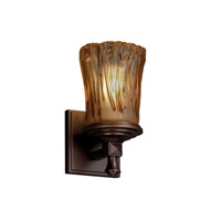Justice Design Veneto Luce Deco 1-Light Wall Sconce in Dark Bronze GLA-8531-16-AMBR-DBRZ