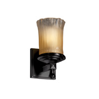 Justice Design Veneto Luce Deco 1-Light Wall Sconce in Matte Black GLA-8531-16-GLDC-MBLK
