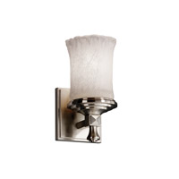Justice Design Veneto Luce Deco 1-Light Wall Sconce in Brushed Nickel GLA-8531-16-WHTW-NCKL