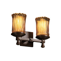Justice Design Veneto Luce Deco 2-Light Bath Bar in Dark Bronze GLA-8532-16-AMBR-DBRZ