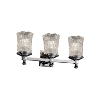 Justice Design GLA-8533-16-CLRT-CROM Veneto Luce 3 Light 21 inch Polished Chrome Bath Bar Wall Light in Clear Textured (Veneto Luce)
