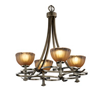 Justice Design Veneto Luce Arcadia 4-Uplight Chandelier in Antique Brass GLA-8560-36-GLDC-ABRS