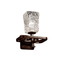 Justice Design GLA-8561-26-CLRT-DBRZ Veneto Luce 1 Light 9 inch Dark Bronze Wall Sconce Wall Light in Clear Textured (Veneto Luce), Square with Rippled Rim photo thumbnail