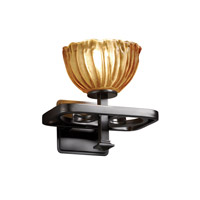 Justice Design GLA-8561-36-AMBR-MBLK Veneto Luce 1 Light 9 inch Matte Black Wall Sconce Wall Light in Amber (Veneto Luce), Bowl with Rippled Rim photo thumbnail