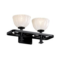 Justice Design Veneto Luce Arcadia 2-Light Bath Bar in Matte Black GLA-8562-36-WHTW-MBLK