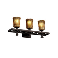 Justice Design Veneto Luce Arcadia 3-Light Bath Bar in Dark Bronze GLA-8563-16-AMBR-DBRZ