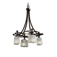 Justice Design Veneto Luce Arcadia 4-Downlight Chandelier in Dark Bronze GLA-8565-30-LACE-DBRZ