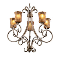 Justice Design GLA-8570-16-AMBR-ABRS Veneto Luce 5 Light Antique Brass Chandelier Ceiling Light in Amber (Veneto Luce), Cylinder with Rippled Rim