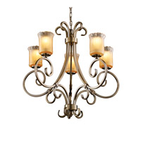 Justice Design GLA-8570-16-GLDC-ABRS Veneto Luce 5 Light Antique Brass Chandelier Ceiling Light in Gold with Clear Rim (Veneto Luce), Cylinder with Rippled Rim