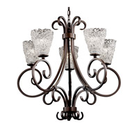 Justice Design Veneto Luce Victoria 5-Uplight Chandelier in Dark Bronze GLA-8570-18-LACE-DBRZ