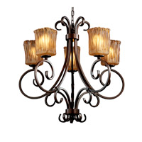 Veneto Luce 5 Light Dark Bronze Chandelier Ceiling Light in Amber (Veneto Luce), Square with Rippled Rim