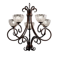 Veneto Luce 5 Light Dark Bronze Chandelier Ceiling Light in Clear Textured (Veneto Luce), Bowl with Rippled Rim