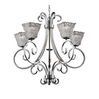 Justice Design GLA-8570-40-LACE-NCKL Veneto Luce 5 Light Brushed Nickel Chandelier Ceiling Light in Lace (Veneto Luce), Square Flared