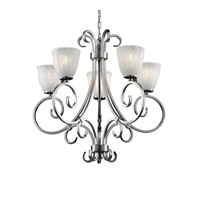 Justice Design GLA-8570-56-WHTW-NCKL Veneto Luce 5 Light Brushed Nickel Chandelier Ceiling Light in Whitewash (Veneto Luce), Tulip with Rippled Rim