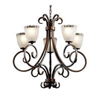 Veneto Luce 5 Light Dark Bronze Chandelier Ceiling Light in White Frosted (Veneto Luce), Tulip with Rippled Rim