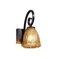 Justice Design GLA-8571-56-AMBR-MBLK Veneto Luce 1 Light 6 inch Matte Black Wall Sconce Wall Light in Amber (Veneto Luce), Tulip with Rippled Rim photo thumbnail