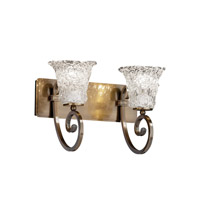 Justice Design Veneto Luce Victoria 2-Light Bath Bar in Antique Brass GLA-8572-20-LACE-ABRS