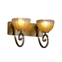 Justice Design Veneto Luce Victoria 2-Light Bath Bar in Antique Brass GLA-8572-36-GLDC-ABRS