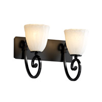 Justice Design Veneto Luce Victoria 2-Light Bath Bar in Matte Black GLA-8572-56-WHTW-MBLK