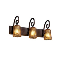 Veneto Luce 3 Light 25 inch Dark Bronze Bath Bar Wall Light in Amber (Veneto Luce), Cylinder with Rippled Rim