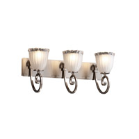 Justice Design Veneto Luce Victoria 3-Light Bath Bar in Brushed Nickel GLA-8573-56-WTFR-NCKL