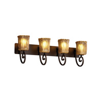 Justice Design Veneto Luce Victoria 4-Light Bath Bar in Dark Bronze GLA-8574-26-AMBR-DBRZ