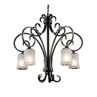 Justice Design Veneto Luce Victoria 5-Downlight Chandelier in Matte Black GLA-8575-16-WTFR-MBLK