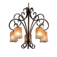 Justice Design Veneto Luce Victoria 5-Downlight Chandelier in Dark Bronze GLA-8575-26-GLDC-DBRZ