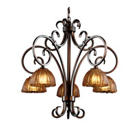 Justice Design Veneto Luce Victoria 5-Downlight Chandelier in Dark Bronze GLA-8575-36-AMBR-DBRZ