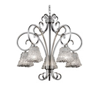 Veneto Luce 5 Light Brushed Nickel Chandelier Ceiling Light in Lace (Veneto Luce), Square Flared
