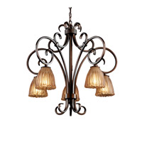 Justice Design Veneto Luce Victoria 5-Downlight Chandelier in Dark Bronze GLA-8575-56-AMBR-DBRZ