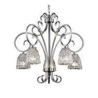 Veneto Luce 5 Light Brushed Nickel Chandelier Ceiling Light in Clear Textured (Veneto Luce), Tulip with Rippled Rim