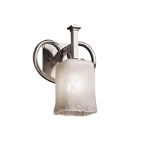 Justice Design Veneto Luce Heritage 1-Light Wall Sconce in Brushed Nickel GLA-8581-26-WHTW-NCKL