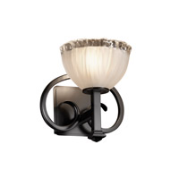 Justice Design GLA-8581-36-WTFR-MBLK Veneto Luce 1 Light 9 inch Matte Black Wall Sconce Wall Light in White Frosted (Veneto Luce), Bowl with Rippled Rim photo thumbnail