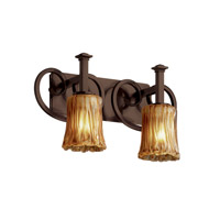 Justice Design Veneto Luce Heritage 2-Light Bath Bar in Dark Bronze GLA-8582-16-AMBR-DBRZ