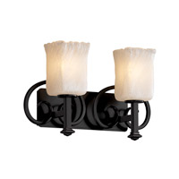 Justice Design Veneto Luce Heritage 2-Light Bath Bar in Matte Black GLA-8582-26-WHTW-MBLK