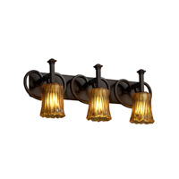 Justice Design Veneto Luce Heritage 3-Light Bath Bar in Dark Bronze GLA-8583-16-AMBR-DBRZ