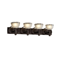Justice Design Veneto Luce Heritage 4-Light Bath Bar in Dark Bronze GLA-8584-36-WTFR-DBRZ