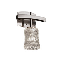 Justice Design GLA-8591-16-CLRT-NCKL Veneto Luce 1 Light 9 inch Brushed Nickel Wall Sconce Wall Light in Clear Textured (Veneto Luce), Cylinder with Rippled Rim
