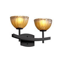 Veneto Luce 2 Light 16 inch Matte Black Bath Bar Wall Light in Gold with Clear Rim (Veneto Luce), Bowl with Rippled Rim
