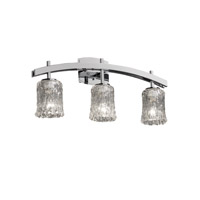 Veneto Luce 3 Light 26 inch Polished Chrome Bath Bar Wall Light in Clear Textured (Veneto Luce), Cylinder with Rippled Rim