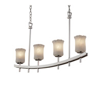 Justice Design Archway 4 Light Chandelier in Brushed Nickel GLA-8595-16-WHTW-NCKL