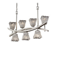 Archway 7 Light 6 inch Brushed Nickel Chandelier Ceiling Light in Lace (Veneto Luce), Square Flared