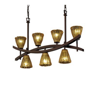 Archway 7 Light 6 inch Dark Bronze Chandelier Ceiling Light in Amber (Veneto Luce), Tulip with Rippled Rim