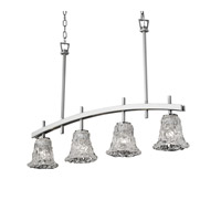 Justice Design Archway 4 Light Chandelier in Brushed Nickel GLA-8599-20-LACE-NCKL