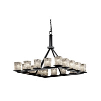 Justice Design Veneto Luce Montana 16-Light Ring Chandelier in Matte Black GLA-8615-26-CLRT-MBLK