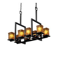 Justice Design Veneto Luce Montana 8-Up & 3-Downlight Bridge Chandelier in Matte Black GLA-8618-26-AMBR-MBLK