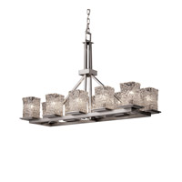 Justice Design Veneto Luce Montana 10-Light Rectangular Ring Chandelier in Brushed Nickel GLA-8650-26-CLRT-NCKL